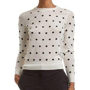 Theory Polka Dot Merino Wool Crew Neck Sweater M